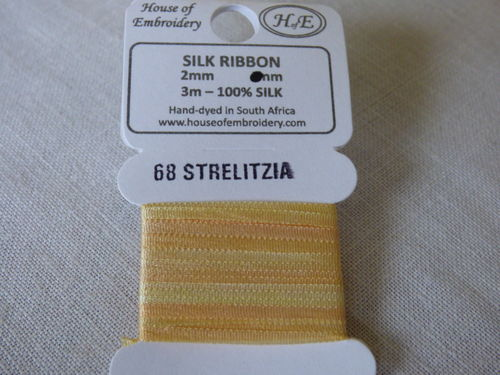 Ruban de soie 2mm House of Embroidery col 68 STRELITZIA