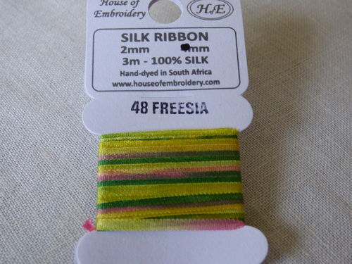 Ruban de soie 2mm House of Embroidery col 48 FREESIA