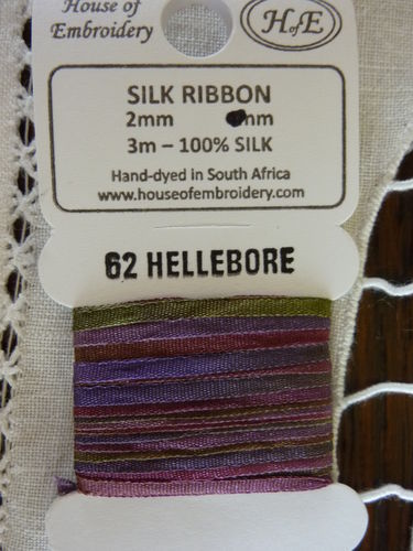 Ruban de soie 2mm House of Embroidery col 62 HELLEBORE
