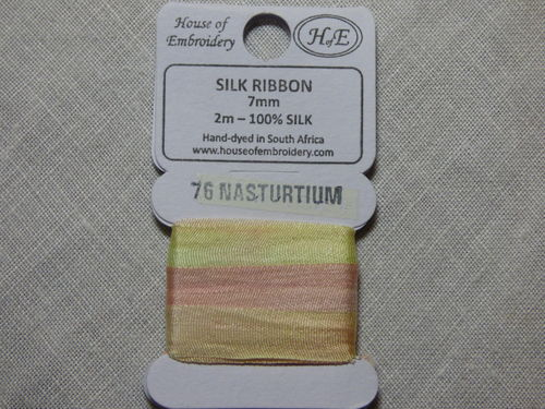 Ruban de soie 7mm House of Embroidery col 76 NASTURTIUM