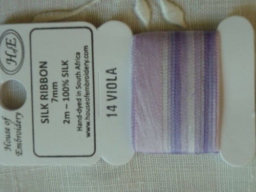 Ruban de soie 7mm House of Embroidery col 14 VIOLA