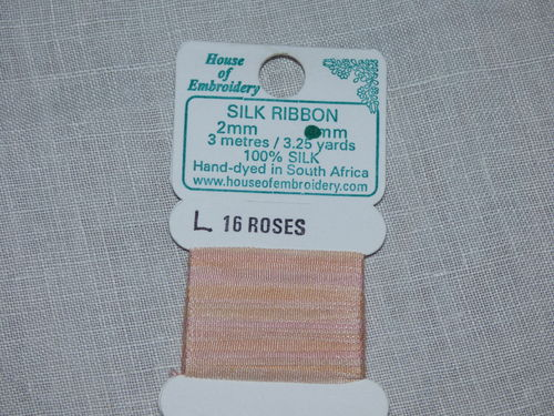 Ruban de soie 2mm House of Embroidery col 16 L ROSES